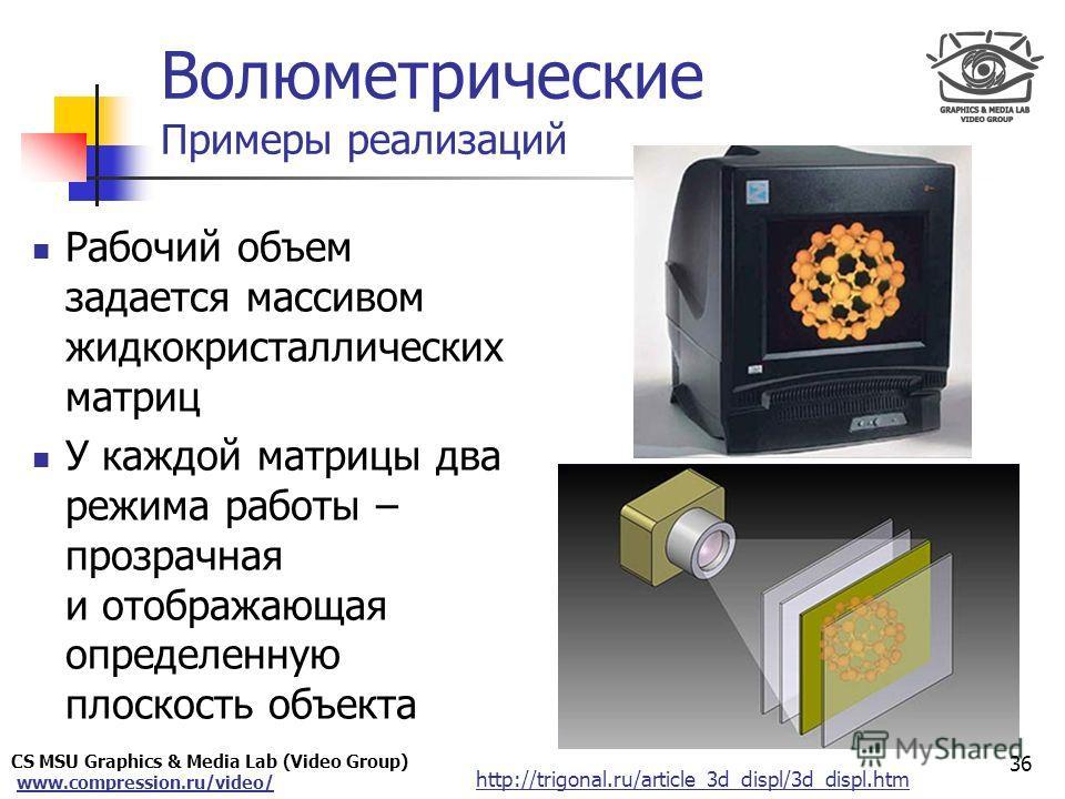 CS MSU Graphics & Media Lab (Video Group) www.compression.ru/video/ Only for Maxus 36 http://trigonal.ru/article_3d_displ/3d_displ.htm Волюметрические Примеры реализаций Рабочий объем задается массивом жидкокристаллических матриц У каждой матрицы два