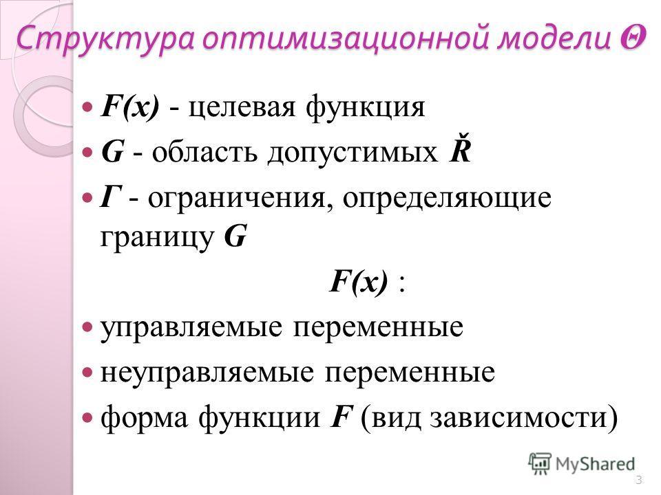 Структура оптимизационной модели Θ F(x) - целевая функция G - область допустимых Ř Г - ограничения, определяющие границу G F(x) : управляемые переменные неуправляемые переменные форма функции F (вид зависимости) 3