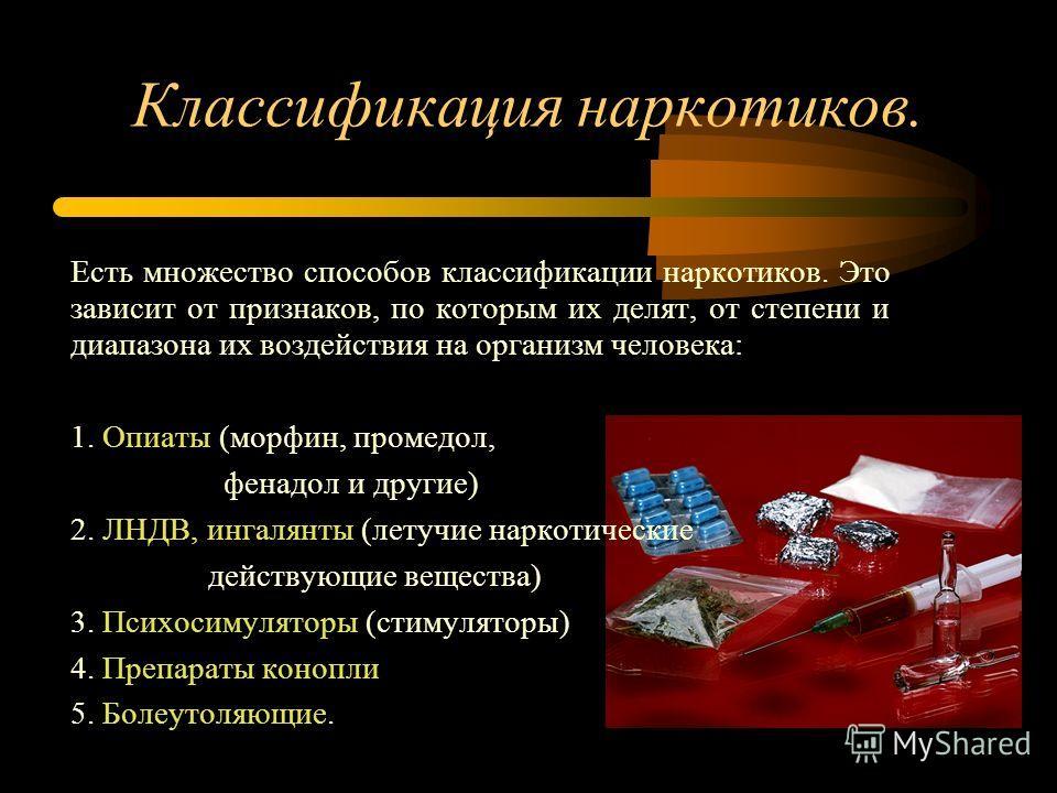 Классификация наркотиков. Есть множество способов классификации наркотиков. Это зависит от признаков, по которым их делят, от степени и диапазона их воздействия на организм человека: 1. Опиаты (морфин, промедол, фенадол и другие) 2. ЛНДВ, ингалянты (