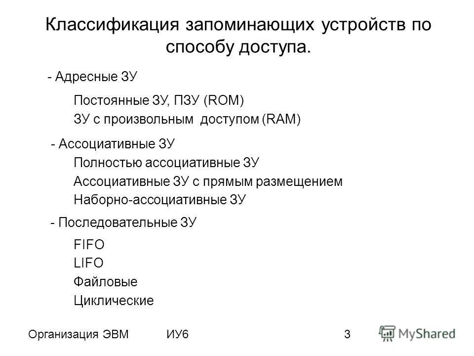 Организация ЭВМИУ63 Классификация запоминающих устройств по способу доступа. - Адресные ЗУ Постоянные ЗУ, ПЗУ (ROM) ЗУ c произвольным доступом (RAM) - Ассоциативные ЗУ - Последовательные ЗУ Полностью ассоциативные ЗУ Ассоциативные ЗУ с прямым размеще