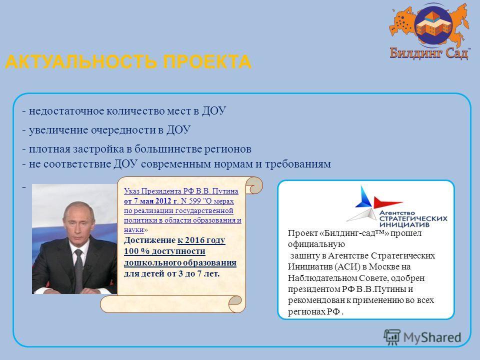 АКТУАЛЬНОСТЬ ПРОЕКТА Указ Президента РФ В.В. Путина от 7 мая 2012 г. N 599