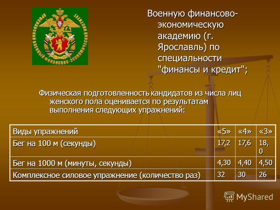 Военную финансово- экономическую академию (г. Ярославль) по специальности