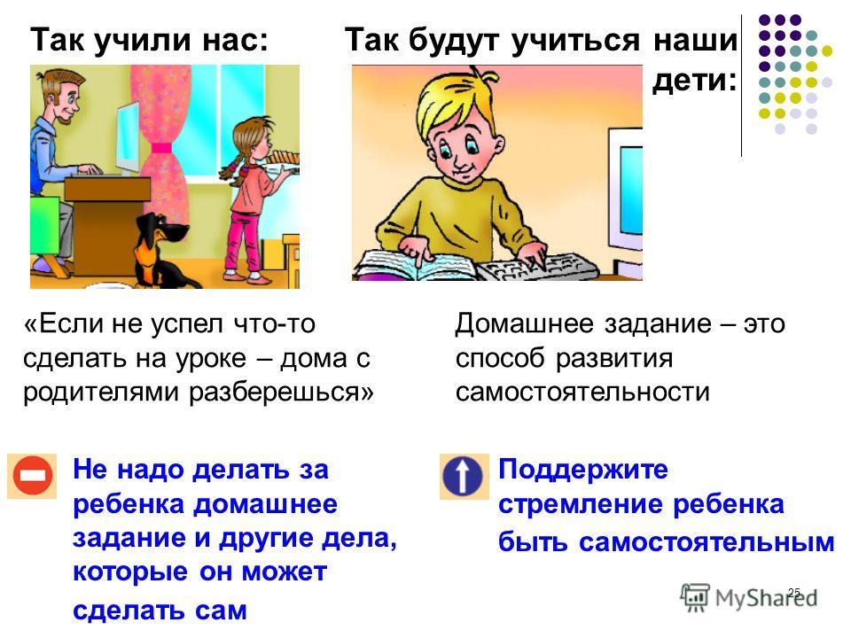24 Так учили нас:Так будут учиться наши дети: Нельзя останавливать ребенка словами: «Мал еще, взрослые лучше знают»! Поддержите ребенка, если он высказывает и аргументирует свою точку зрения В учебнике всегда есть один правильный ответ! В учебнике из