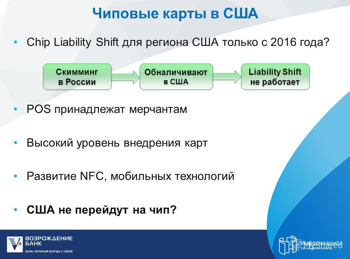 Чиповые карты в США Chip Liability Shift для региона США только с 2016 года? POS принадлежат мерчантам Высокий уровень внедрения карт Развитие NFC, мобильных технологий США не перейдут на чип? Скимминг в России Обналичивают в США Liability Shift не р