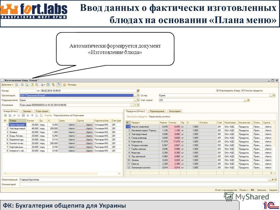 Ввод данных о фактически изготовленных блюдах на основании «Плана меню» ФК: Бухгалтерия общепита для Украины Автоматически формируется документ «Изготовление блюда»
