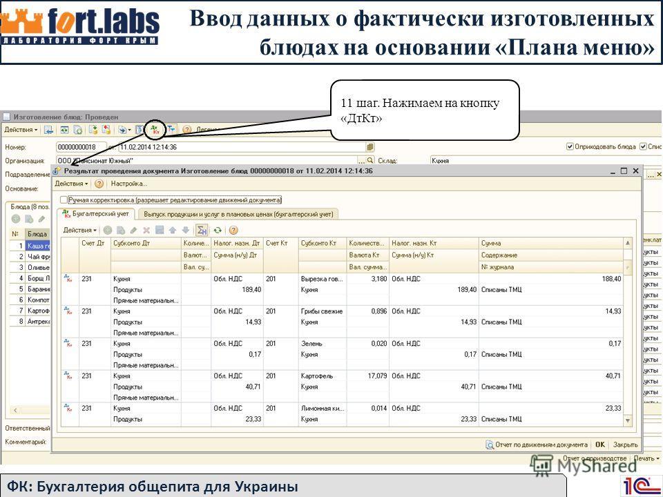 Ввод данных о фактически изготовленных блюдах на основании «Плана меню» ФК: Бухгалтерия общепита для Украины 11 шаг. Нажимаем на кнопку «ДтКт»