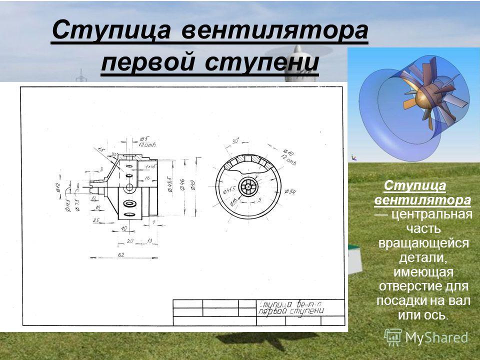 Ступица вентилятора первой ступени Ступица вентилятора центральная часть вращающейся детали, имеющая отверстие для посадки на вал или ось.