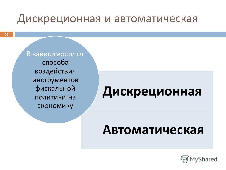 Дискреционная и автоматическая 52 Дискреционная Автоматическая В зависимости от способа воздействия инструментов фискальной политики на экономику
