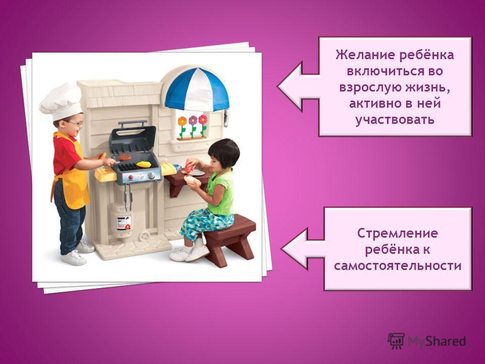 Желание ребёнка включиться во взрослую жизнь, активно в ней участвовать Стремление ребёнка к самостоятельности