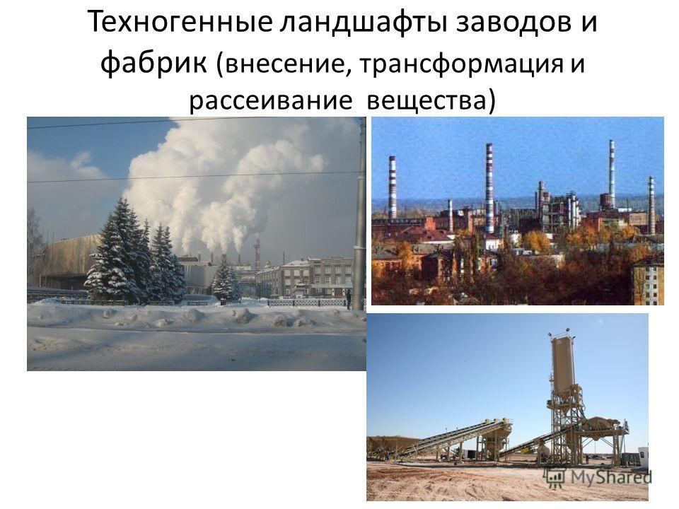 Техногенные ландшафты заводов и фабрик (внесение, трансформация и рассеивание вещества)