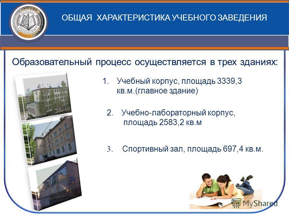 Образовательный процесс осуществляется в трех зданиях: ОБЩАЯ ХАРАКТЕРИСТИКА УЧЕБНОГО ЗАВЕДЕНИЯ 1.Учебный корпус, площадь 3339,3 кв.м.(главное здание) 2.Учебно-лабораторный корпус, площадь 2583,2 кв.м 3. Спортивный зал, площадь 697,4 кв.м.