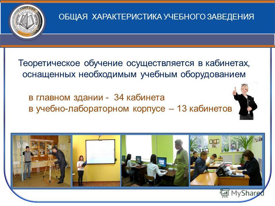 ОБЩАЯ ХАРАКТЕРИСТИКА УЧЕБНОГО ЗАВЕДЕНИЯ Теоретическое обучение осуществляется в кабинетах, оснащенных необходимым учебным оборудованием в главном здании - 34 кабинета в учебно-лабораторном корпусе – 13 кабинетов
