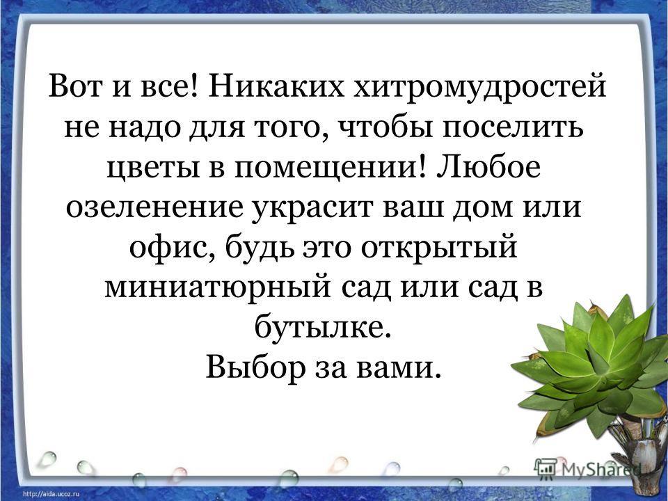 Вот и все! Никаких хитромудростей не надо для того, чтобы поселить цветы в помещении! Любое озеленение украсит ваш дом или офис, будь это открытый миниатюрный сад или сад в бутылке. Выбор за вами.