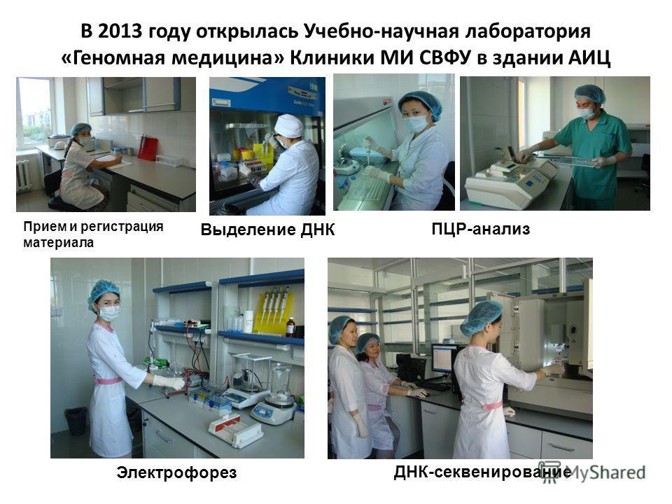 В 2013 году открылась Учебно-научная лаборатория «Геномная медицина» Клиники МИ СВФУ в здании АИЦ Прием и регистрация материала Выделение ДНК ПЦР-анализ Электрофорез ДНК-секвенирование