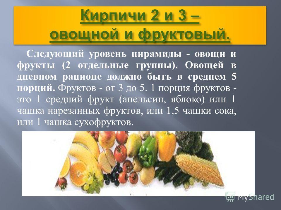 Кирпичи 2 и 3 – овощной и фруктовый. Следующий уровень пирамиды - овощи и фрукты (2 отдельные группы ). Овощей в дневном рационе должно быть в среднем 5 порций. Фруктов - от 3 до 5. 1 порция фруктов - это 1 средний фрукт ( апельсин, яблоко ) или 1 ча