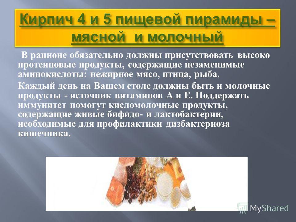 Кирпич 4 и 5 пищевой пирамиды – мясной и молочный В рационе обязательно должны присутствовать высоко протеиновые продукты, содержащие незаменимые аминокислоты : нежирное мясо, птица, рыба. Каждый день на Вашем столе должны быть и молочные продукты -