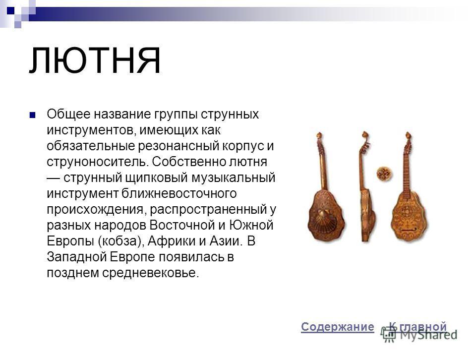 ЛЮТНЯ Общее название группы струнных инструментов, имеющих как обязательные резонансный корпус и струноноситель. Собственно лютня струнный щипковый музыкальный инструмент ближневосточного происхождения, распространенный у разных народов Восточной и Ю