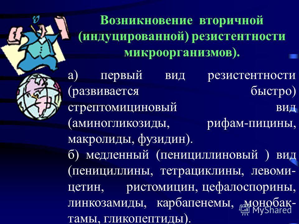 а) первый вид резистентности (развивается быстро) стрептомициновый вид (аминогликозиды, рифам-пицины, макролиды, фузидин). б) медленный (пенициллиновый ) вид (пенициллины, тетрациклины, левоми- цетин, ристомицин, цефалоспорины, линкозамиды, карбапене