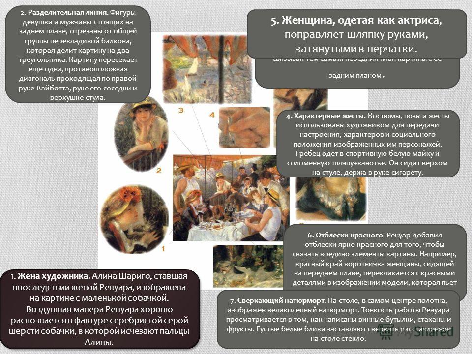 1. Жена художника. Алина Шариго, ставшая впоследствии женой Ренуара, изображена на картине с маленькой собачкой. Воздушная манера Ренуара хорошо распознается в фактуре серебристой серой шерсти собачки, в которой исчезают пальцы Алины. 2. Разделительн