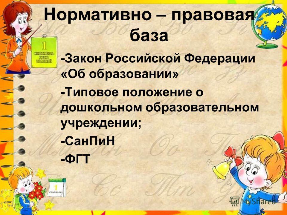 Нормативно – правовая база -Закон Российской Федерации «Об образовании» -Типовое положение о дошкольном образовательном учреждении; -СанПиН -ФГТ