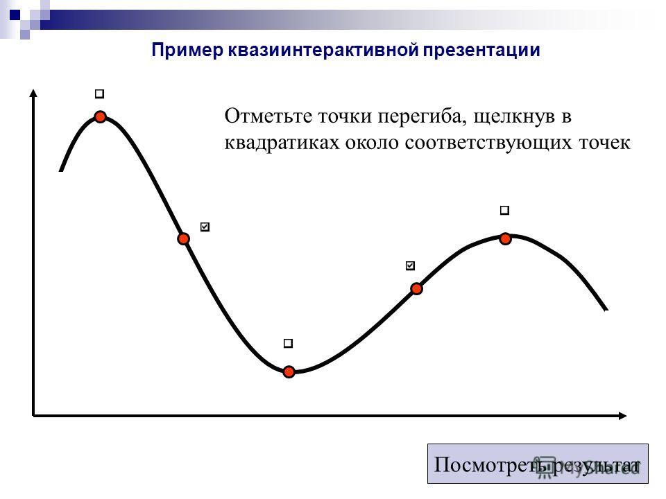 Отметьте точки перегиба, щелкнув в квадратиках около соответствующих точек Посмотреть результат Пример квазиинтерактивной презентации