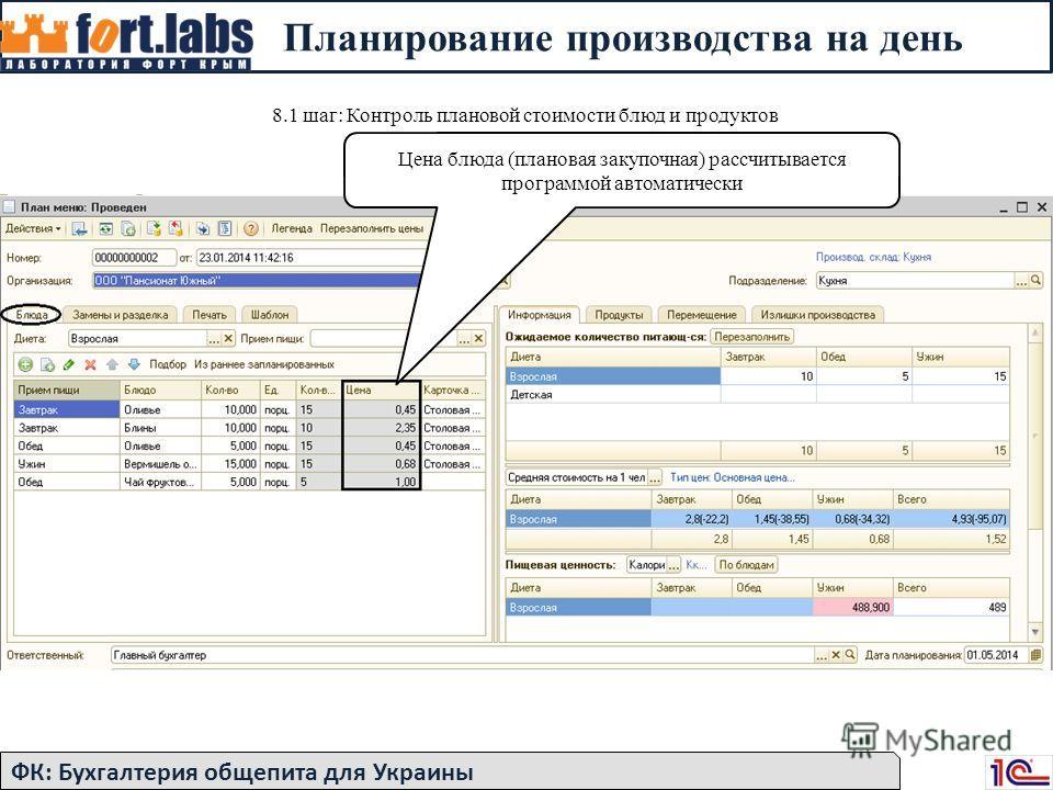 Планирование производства на день 8.1 шаг: Контроль плановой стоимости блюд и продуктов Цена блюда (плановая закупочная) рассчитывается программой автоматически ФК: Бухгалтерия общепита для Украины