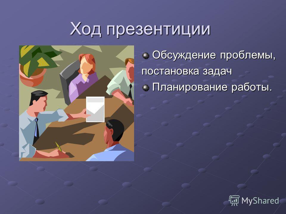 Ход презентиции Обсуждение проблемы, постановка задач Планирование работы.