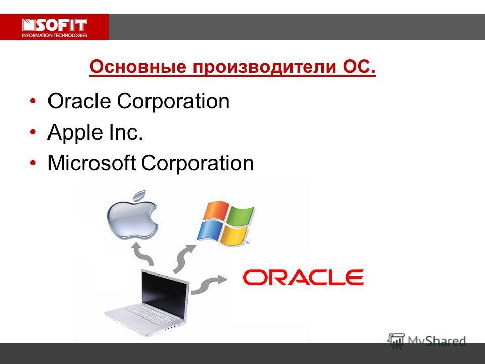 Oracle Corporation Apple Inc. Microsoft Corporation Основные производители ОС.