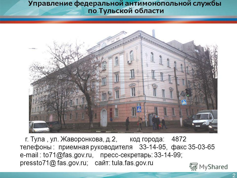 Управление федеральной антимонопольной службы по Тульской области 2 г. Тула, ул. Жаворонкова, д.2, код города: 4872 телефоны : приемная руководителя 33-14-95, факс 35-03-65 e-mail : to71@fas.gov.ru, пресс-секретарь: 33-14-99; pressto71@ fas.gov.ru; с