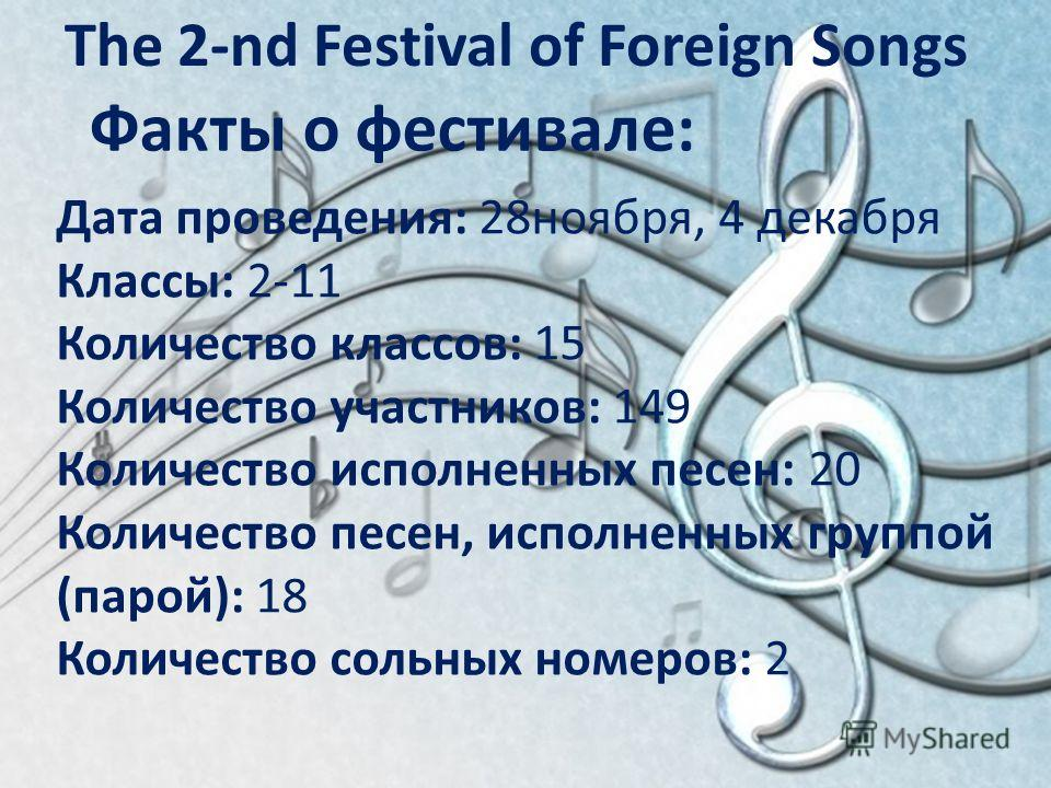 The 2-nd Festival of Foreign Songs Факты о фестивале: Дата проведения: 28ноября, 4 декабря Классы: 2-11 Количество классов: 15 Количество участников: 149 Количество исполненных песен: 20 Количество песен, исполненных группой (парой): 18 Количество со