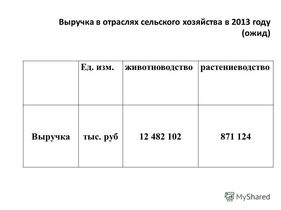 Ед. изм.животноводстворастениеводство Выручкатыс. руб12 482 102871 124 Выручка в отраслях сельского хозяйства в 2013 году (ожид)