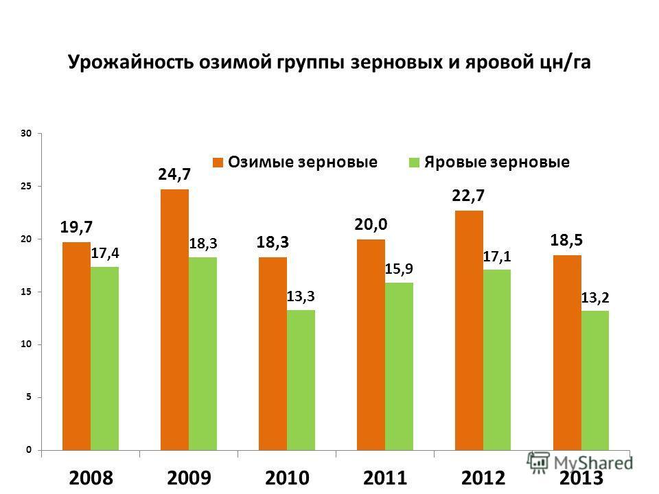Урожайность озимой группы зерновых и яровой цн/га
