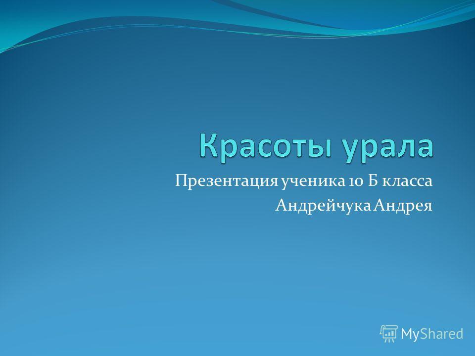 Презентация ученика 10 Б класса Андрейчука Андрея