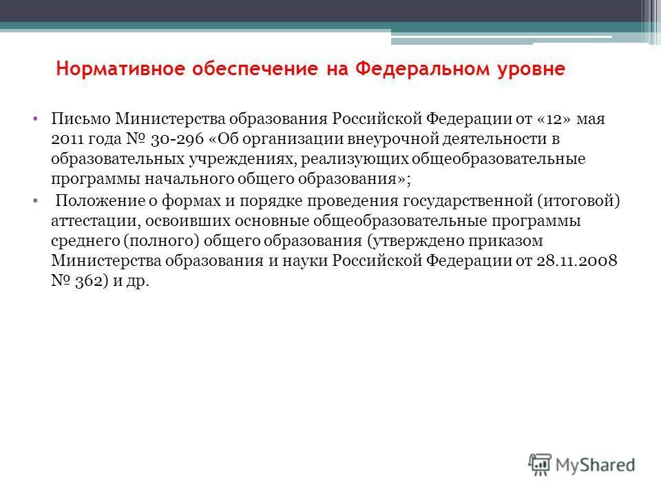 Нормативное обеспечение на Федеральном уровне Письмо Министерства образования Российской Федерации от «12» мая 2011 года 30-296 «Об организации внеурочной деятельности в образовательных учреждениях, реализующих общеобразовательные программы начальног