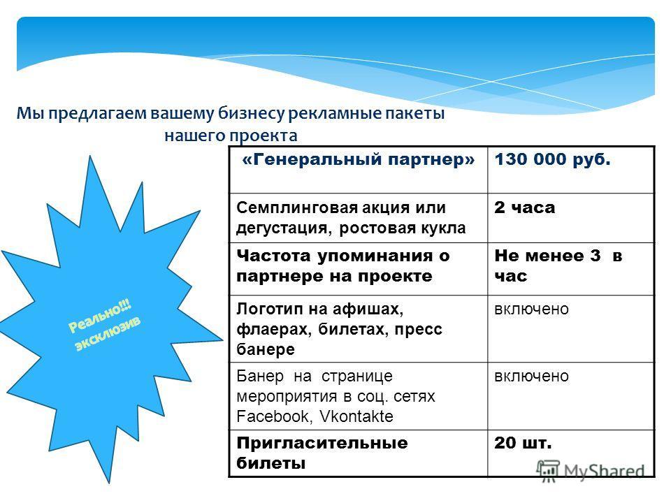 Мы предлагаем вашему бизнесу рекламные пакеты нашего проекта «Генеральный партнер»130 000 руб. Семплинговая акция или дегустация, ростовая кукла 2 часа Частота упоминания о партнере на проекте Не менее 3 в час Логотип на афишах, флаерах, билетах, пре