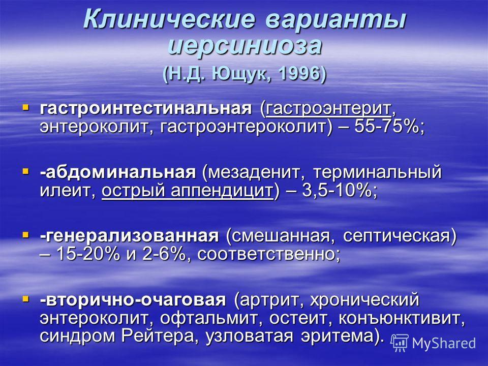 Клинические варианты иерсиниоза (Н.Д. Ющук, 1996) гастроинтестинальная (гастроэнтерит, энтероколит, гастроэнтероколит) – 55-75%; гастроинтестинальная (гастроэнтерит, энтероколит, гастроэнтероколит) – 55-75%; -абдоминальная (мезаденит, терминальный ил