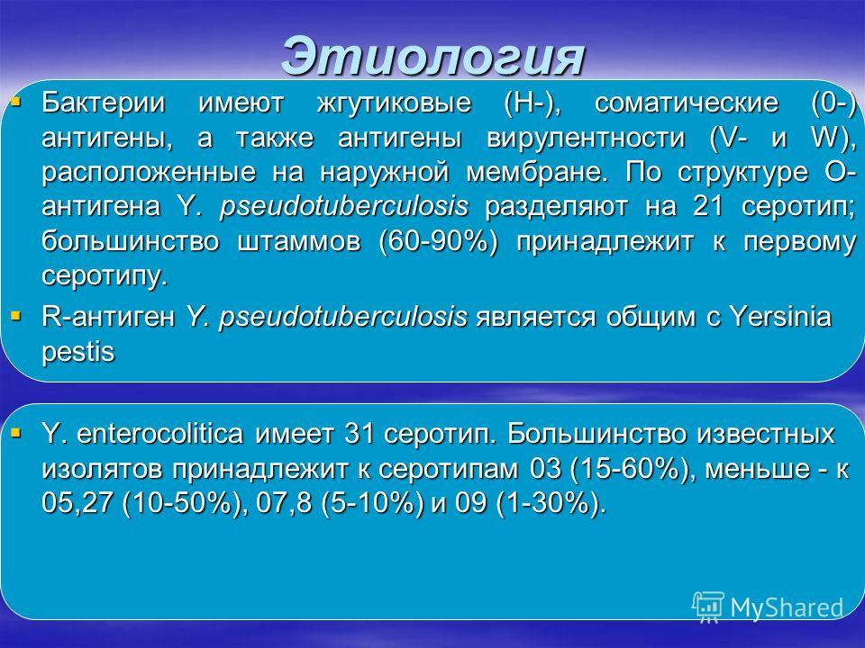 Этиология Бактерии имеют жгутиковые (Н-), соматические (0-) антигены, а также антигены вирулентности (V- и W), расположенные на наружной мембране. По структуре О- антигена Y. pseudotuberculosis разделяют на 21 серотип; большинство штаммов (60-90%) пр