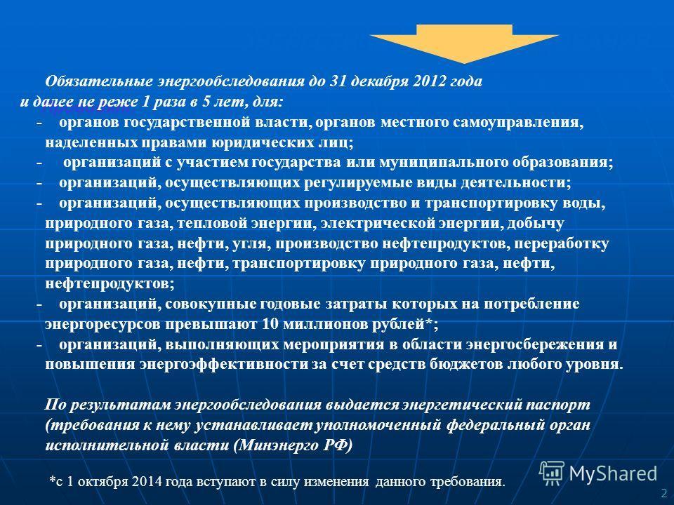 2 ЭНЕРГЕТИЧЕСКИЕ ОБСЛЕДОВАНИЯ Проводят: Обязательные энергообследования до 31 декабря 2012 года и далее не реже 1 раза в 5 лет, для: - органов государственной власти, органов местного самоуправления, наделенных правами юридических лиц; - организаций