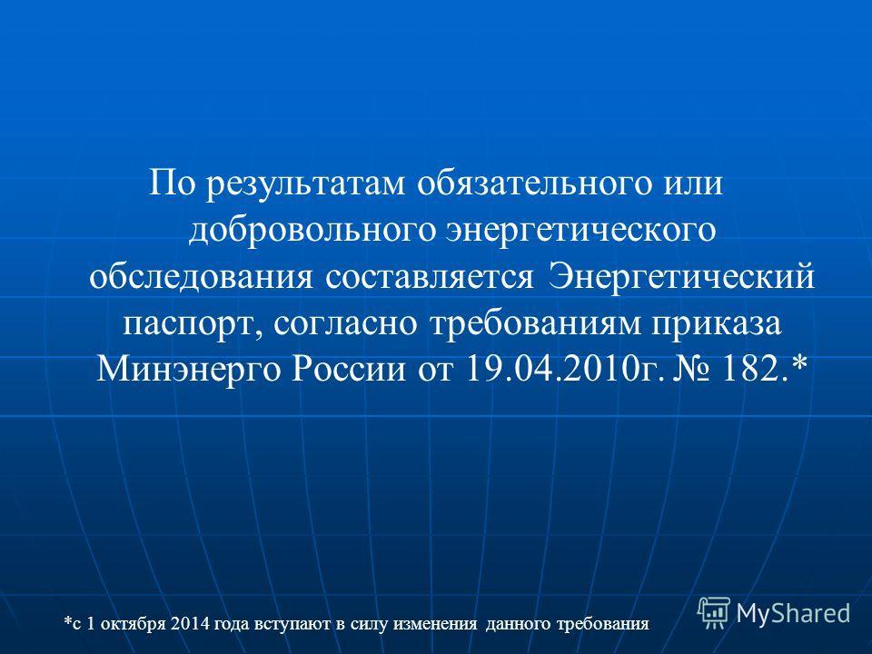 По результатам обязательного или добровольного энергетического обследования составляется Энергетический паспорт, согласно требованиям приказа Минэнерго России от 19.04.2010г. 182.* *с 1 октября 2014 года вступают в силу изменения данного требования