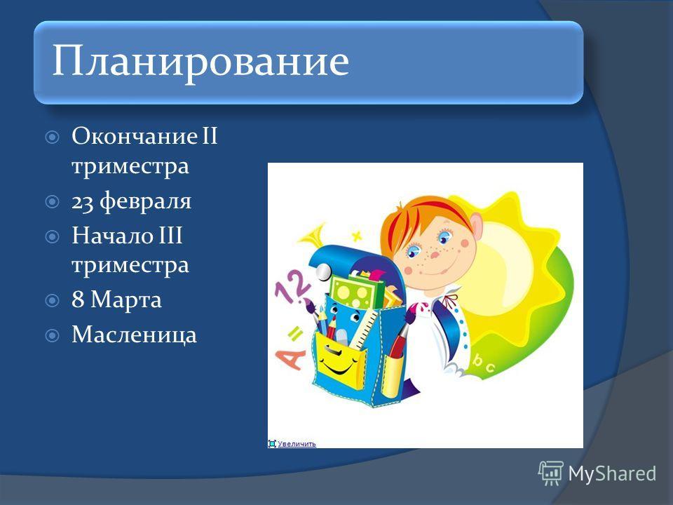Планирование Окончание II триместра 23 февраля Начало III триместра 8 Марта Масленица