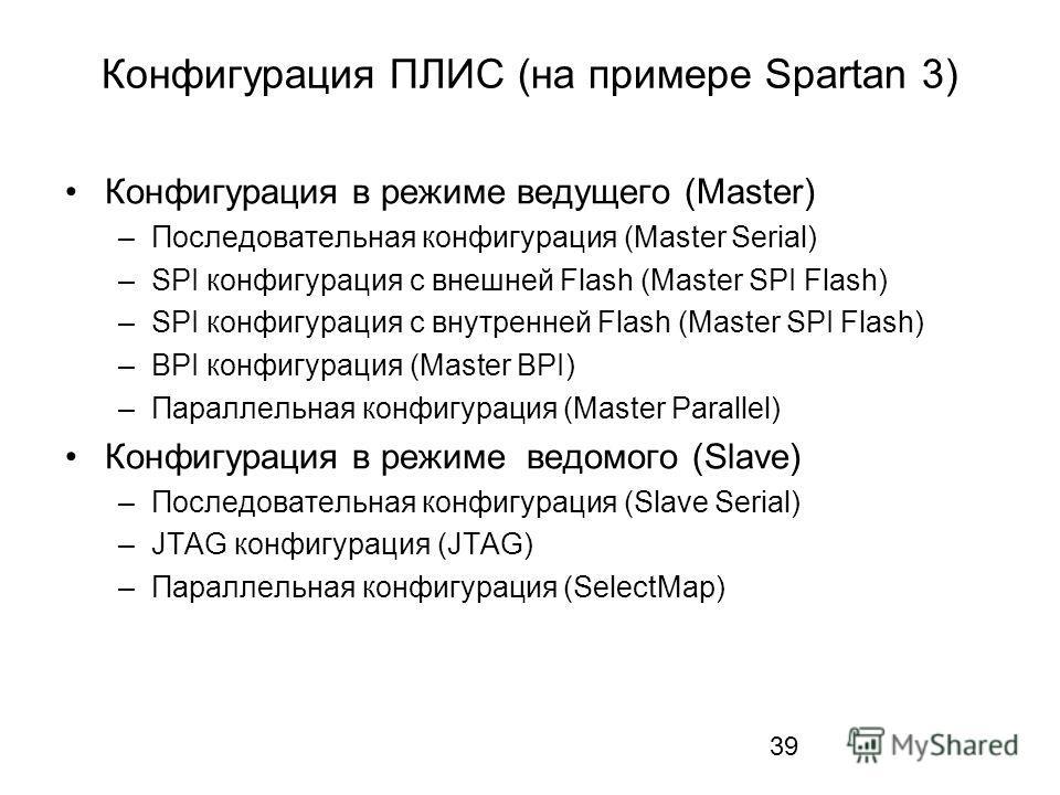 39 Конфигурация ПЛИС (на примере Spartan 3) Конфигурация в режиме ведущего (Master) –Последовательная конфигурация (Master Serial) –SPI конфигурация с внешней Flash (Master SPI Flash) –SPI конфигурация с внутренней Flash (Master SPI Flash) –BPI конфи