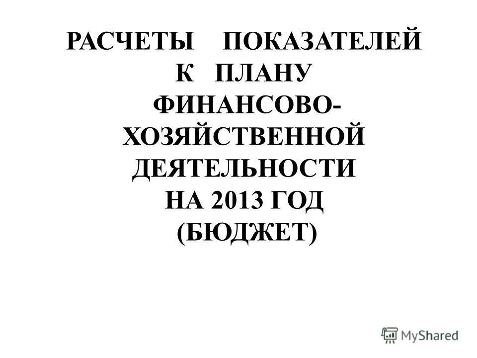 РАСЧЕТЫ ПОКАЗАТЕЛЕЙ К ПЛАНУ ФИНАНСОВО- ХОЗЯЙСТВЕННОЙ ДЕЯТЕЛЬНОСТИ НА 2013 ГОД (БЮДЖЕТ)