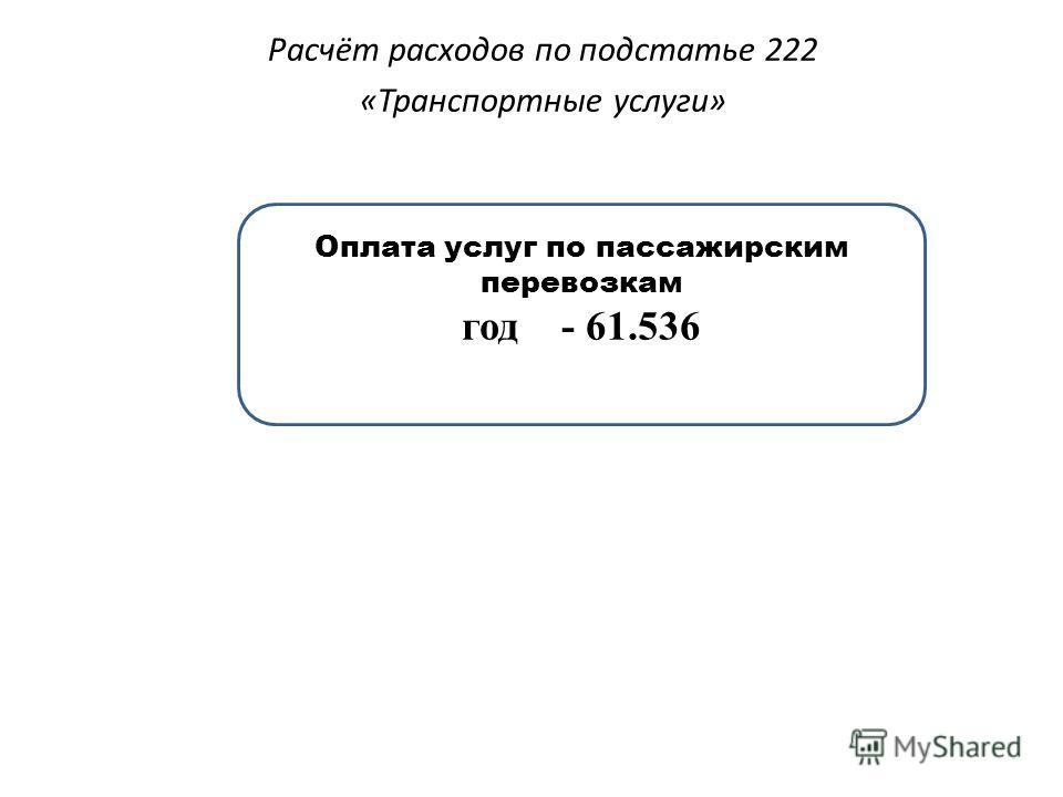 Расчёт расходов по подстатье 222 «Транспортные услуги» Оплата услуг по пассажирским перевозкам год - 61.536