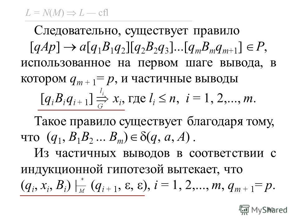 80 L = N(M) L cfl Следовательно, существует правило [qAp] a[q 1 B 1 q 2 ][q 2 B 2 q 3 ]...[q m B m q m+1 ] P, использованное на первом шаге вывода, в котором q m + 1 = p, и частичные выводы [q i B i q i + 1 ] x i, где l i n, i = 1, 2,..., m. Такое пр