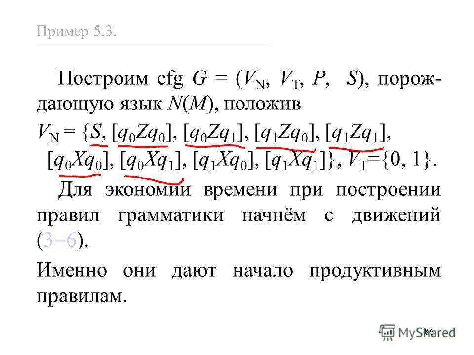 86 Пример 5.3. Построим cfg G = (V N, V T, P, S), порож- дающую язык N(M), положив V N = {S, [q 0 Zq 0 ], [q 0 Zq 1 ], [q 1 Zq 0 ], [q 1 Zq 1 ], [q 0 Xq 0 ], [q 0 Xq 1 ], [q 1 Xq 0 ], [q 1 Xq 1 ]}, V T ={0, 1}. Для экономии времени при построении пра