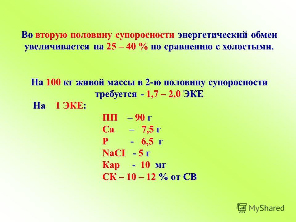 Во вторую половину супоросности энергетический обмен увеличивается на 25 – 40 % по сравнению с холостыми. На 100 кг живой массы в 2-ю половину супоросности требуется - 1,7 – 2,0 ЭКЕ На 1 ЭКЕ: На 1 ЭКЕ: ПП – 90 г ПП – 90 г Ca – 7,5 г Ca – 7,5 г Р - 6,