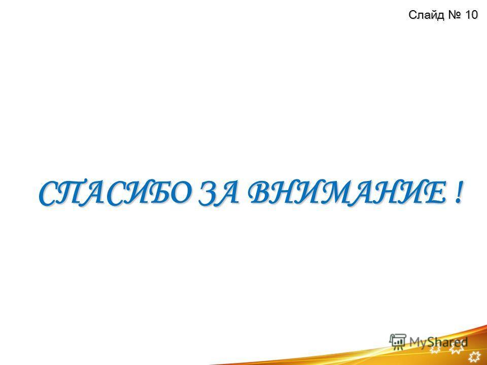 СПАСИБО ЗА ВНИМАНИЕ ! Слайд 10