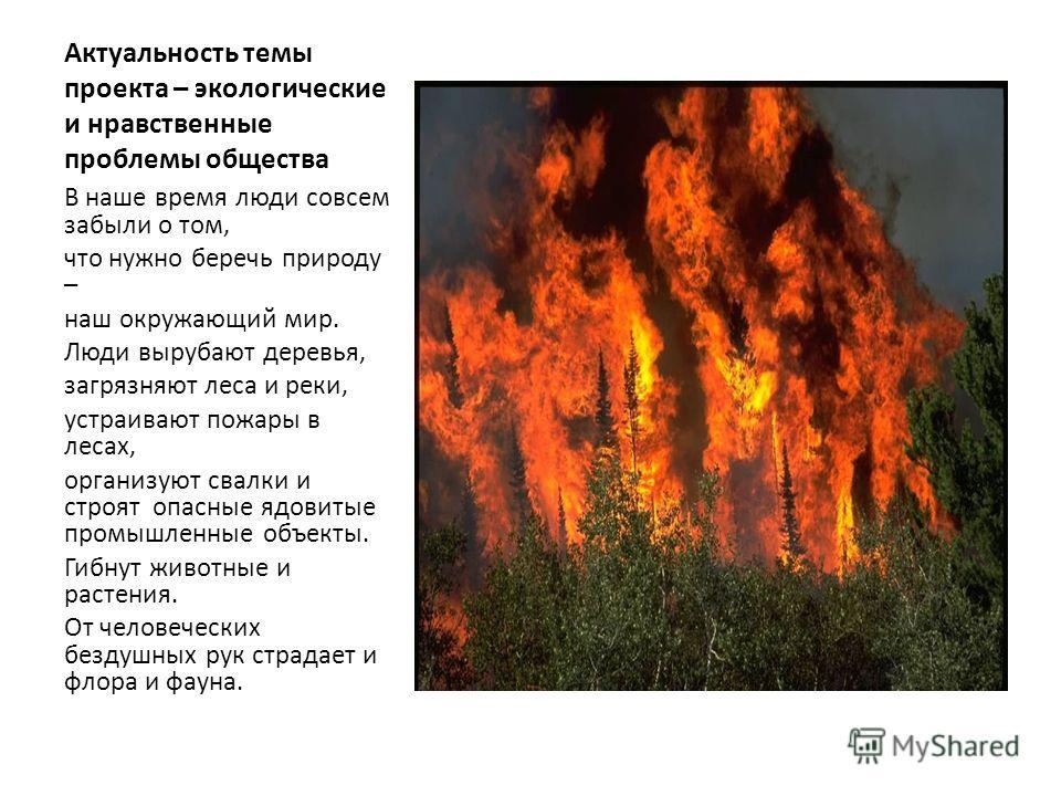 Актуальность темы проекта – экологические и нравственные проблемы общества В наше время люди совсем забыли о том, что нужно беречь природу – наш окружающий мир. Люди вырубают деревья, загрязняют леса и реки, устраивают пожары в лесах, организуют свал