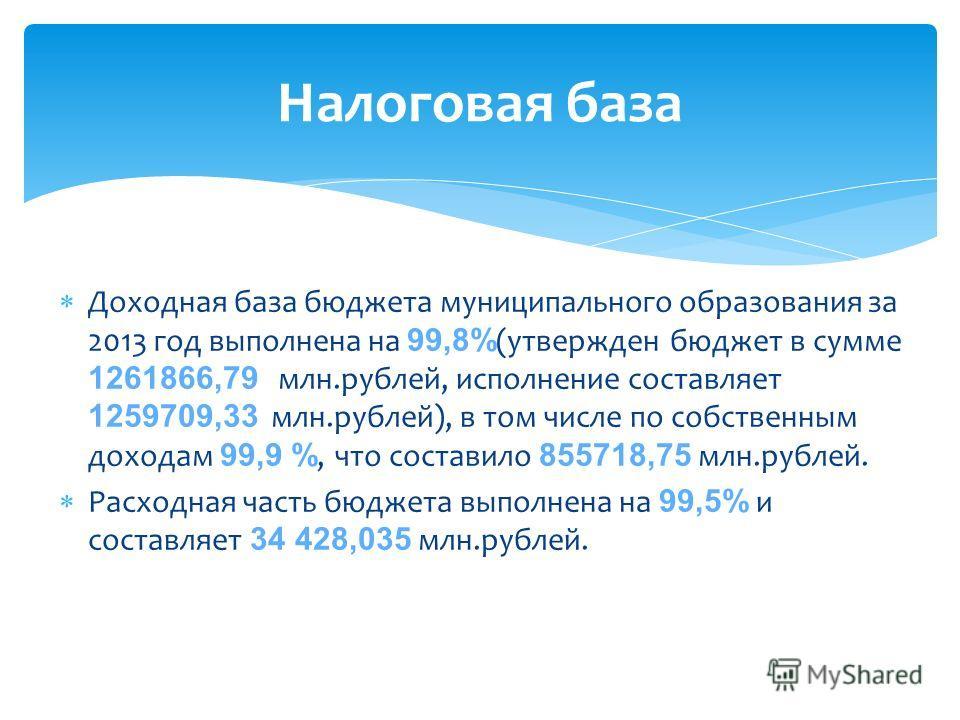 Доходная база бюджета муниципального образования за 2013 год выполнена на 99,8% (утвержден бюджет в сумме 1261866,79 млн.рублей, исполнение составляет 1259709,33 млн.рублей), в том числе по собственным доходам 99,9 %, что составило 855718,75 млн.рубл