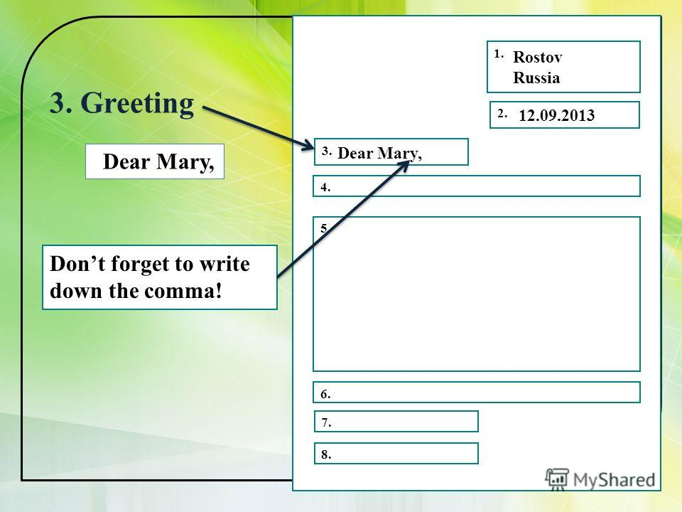 1. 2. 3. 4. 5. 6. 7. 8. Rostov Russia 3. Greeting 12.09.2013 Dear Mary, Dont forget to write down the comma!
